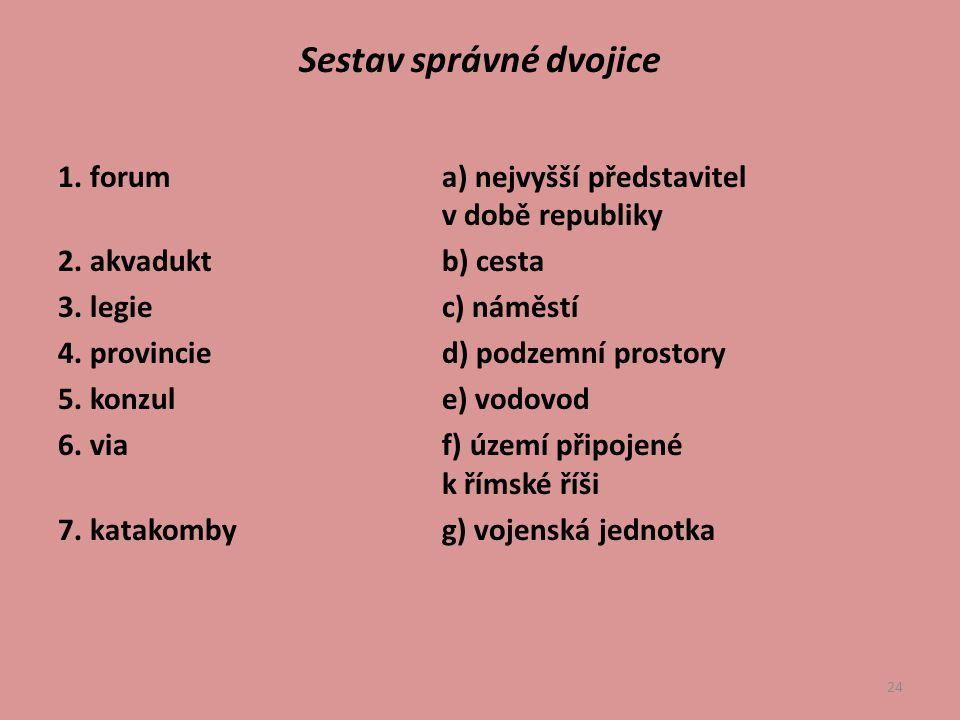 24 Sestav správné dvojice 1.foruma) nejvyšší představitel v době republiky 2.
