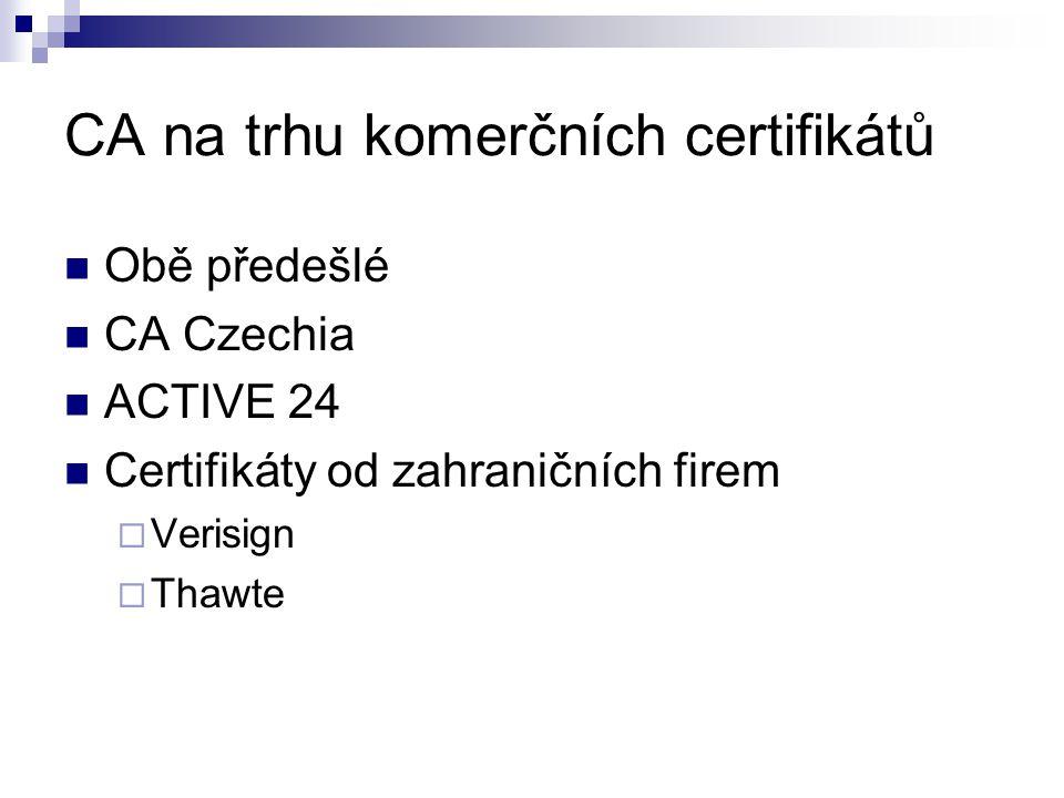 CA na trhu komerčních certifikátů Obě předešlé CA Czechia ACTIVE 24 Certifikáty od zahraničních firem  Verisign  Thawte