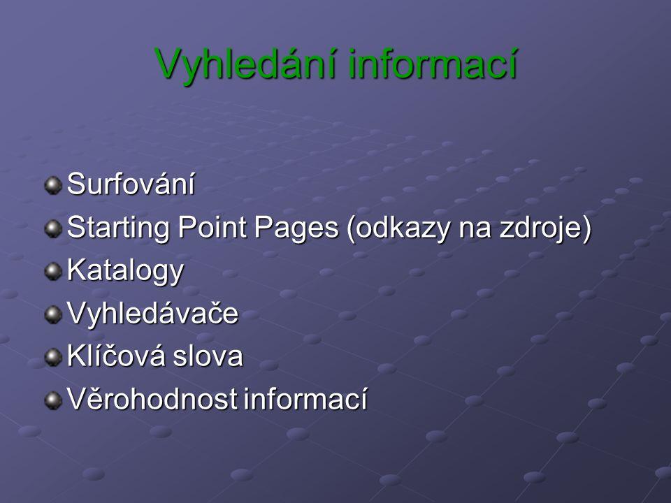 Vyhledání informací Surfování Starting Point Pages (odkazy na zdroje) KatalogyVyhledávače Klíčová slova Věrohodnost informací