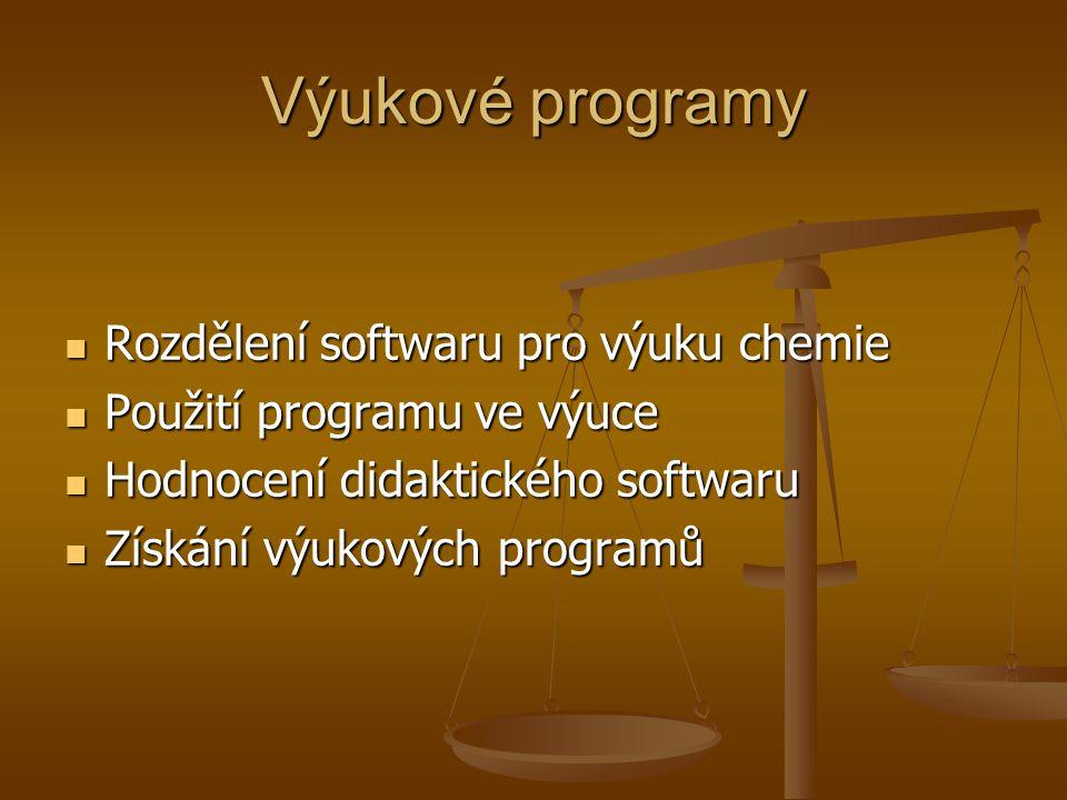 Výukové programy Rozdělení softwaru pro výuku chemie Rozdělení softwaru pro výuku chemie Použití programu ve výuce Použití programu ve výuce Hodnocení didaktického softwaru Hodnocení didaktického softwaru Získání výukových programů Získání výukových programů