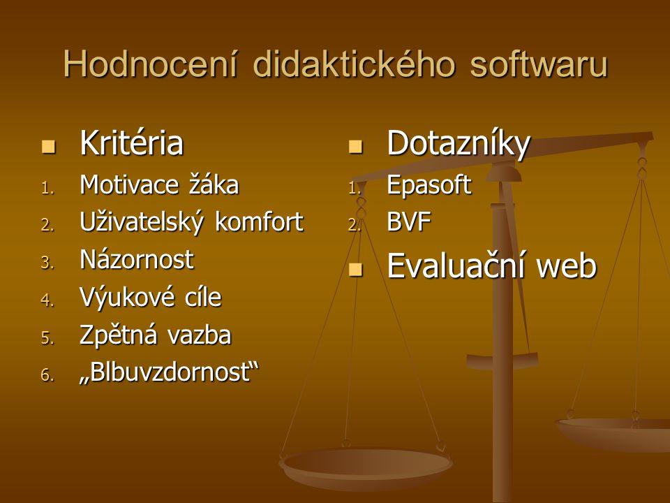 Hodnocení didaktického softwaru Kritéria Kritéria 1.
