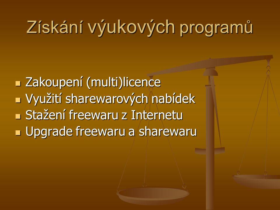 Získání výukových programů Zakoupení (multi)licence Zakoupení (multi)licence Využití sharewarových nabídek Využití sharewarových nabídek Stažení freewaru z Internetu Stažení freewaru z Internetu Upgrade freewaru a sharewaru Upgrade freewaru a sharewaru