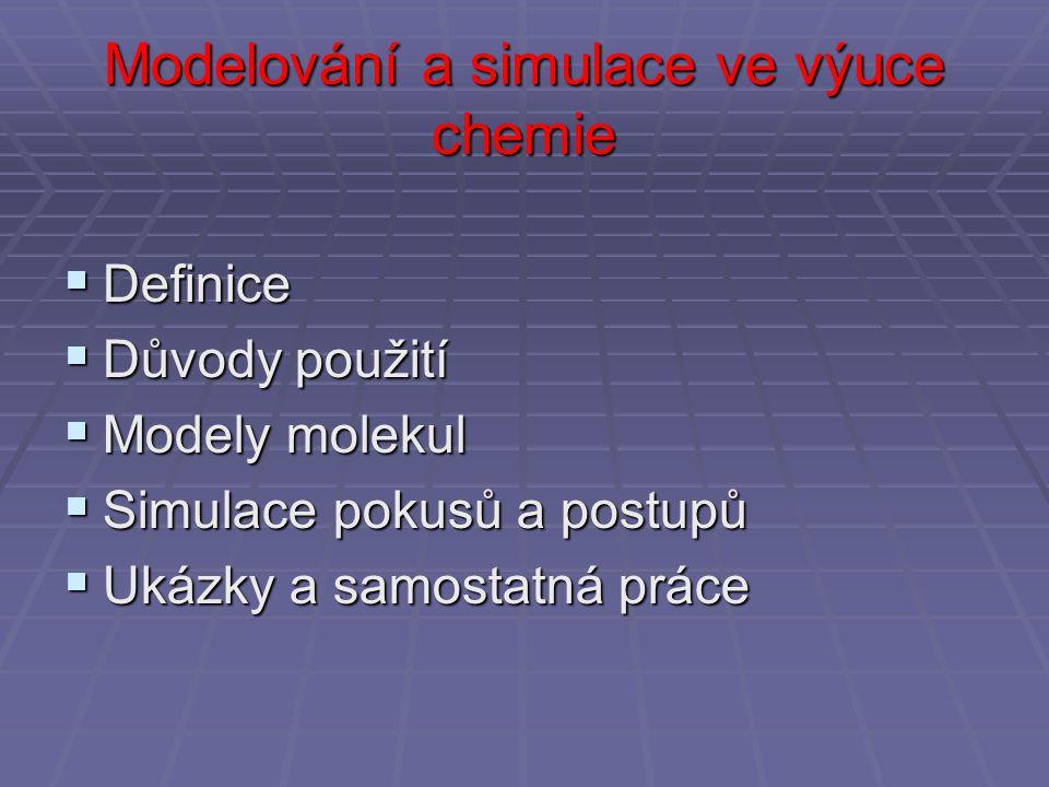 Modelování a simulace ve výuce chemie  Definice  Důvody použití  Modely molekul  Simulace pokusů a postupů  Ukázky a samostatná práce