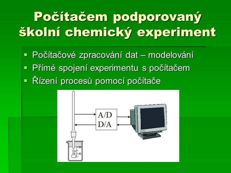 Počítačem podporovaný školní chemický experiment  Počítačové zpracování dat – modelování  Přímé spojení experimentu s počítačem  Řízení procesů pomocí počítače