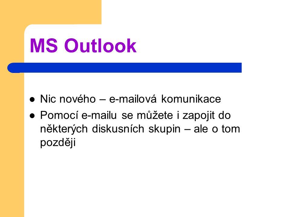 MS Outlook Nic nového – e-mailová komunikace Pomocí e-mailu se můžete i zapojit do některých diskusních skupin – ale o tom později