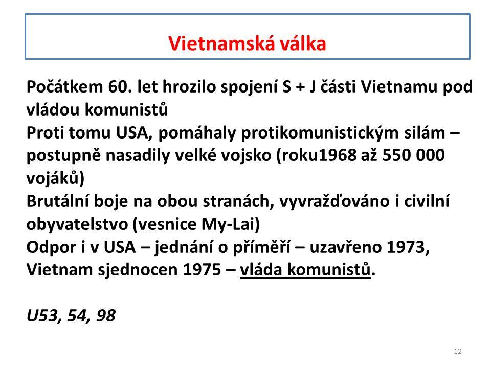 Vietnamská válka Počátkem 60. let hrozilo spojení S + J části Vietnamu pod vládou komunistů Proti tomu USA, pomáhaly protikomunistickým silám – postup