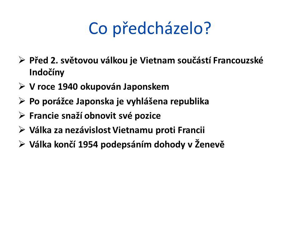 Co předcházelo?  Před 2. světovou válkou je Vietnam součástí Francouzské Indočíny  V roce 1940 okupován Japonskem  Po porážce Japonska je vyhlášena