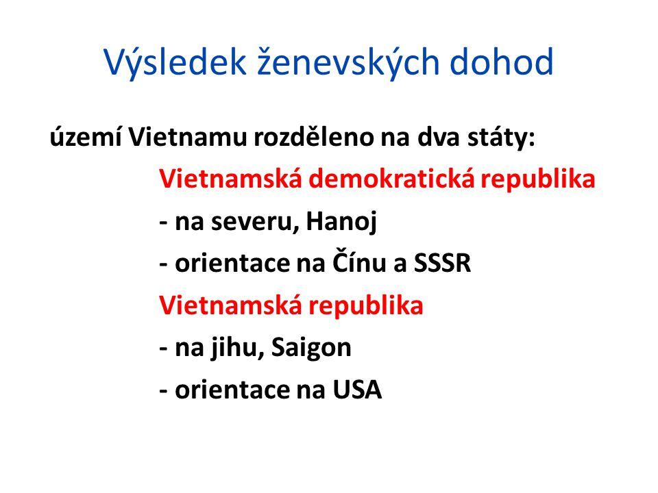 Konflikt mezi dvěma vietnamskými státy v letech 1954-75 Vietnamská demokratická republika v čele Ho-či-min podpora Číny a SSSR snaha o sjednocení Vietnamu s komunistickou vládou Vietnamská republika podpora USA