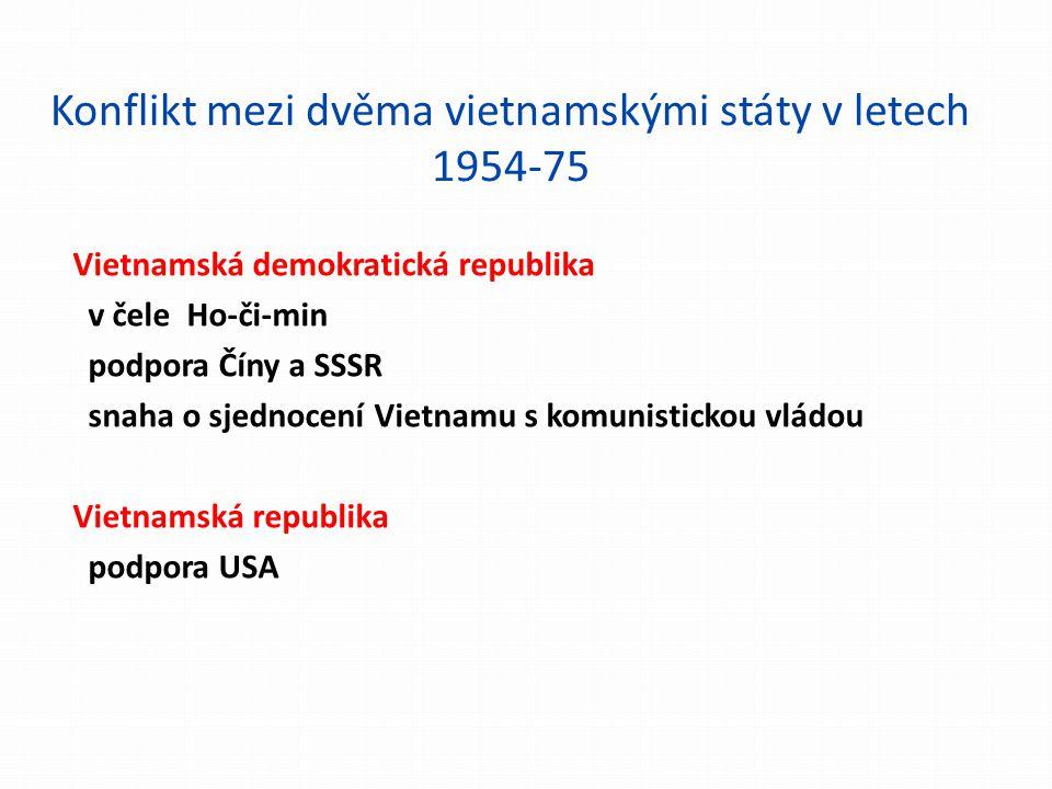 Konflikt mezi dvěma vietnamskými státy v letech 1954-75 Vietnamská demokratická republika v čele Ho-či-min podpora Číny a SSSR snaha o sjednocení Viet