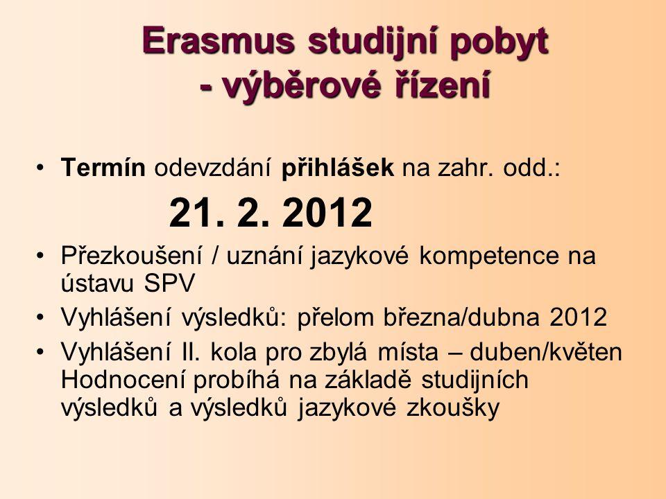 Erasmus studijní pobyt - výběrové řízení Termín odevzdání přihlášek na zahr. odd.: 21. 2. 2012 Přezkoušení / uznání jazykové kompetence na ústavu SPV