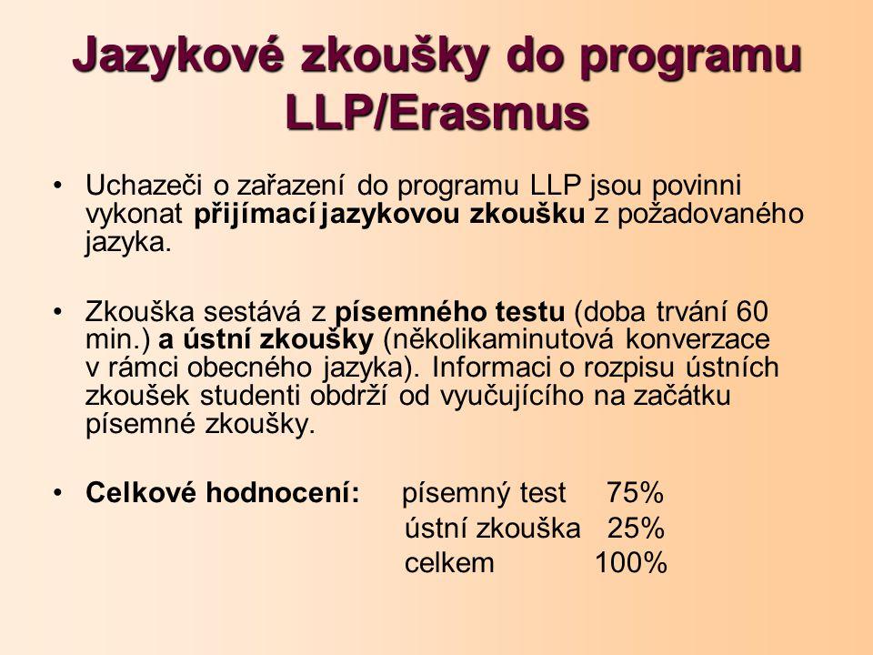 Jazykové zkoušky do programu LLP/Erasmus Uchazeči o zařazení do programu LLP jsou povinni vykonat přijímací jazykovou zkoušku z požadovaného jazyka.