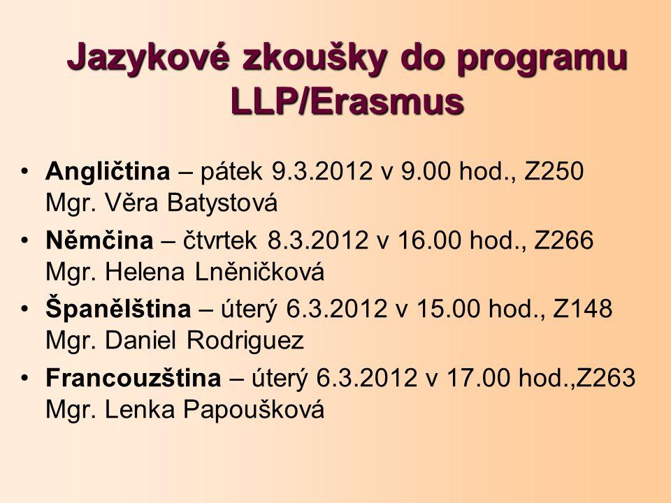 Jazykové zkoušky do programu LLP/Erasmus Angličtina – pátek 9.3.2012 v 9.00 hod., Z250 Mgr. Věra Batystová Němčina – čtvrtek 8.3.2012 v 16.00 hod., Z2