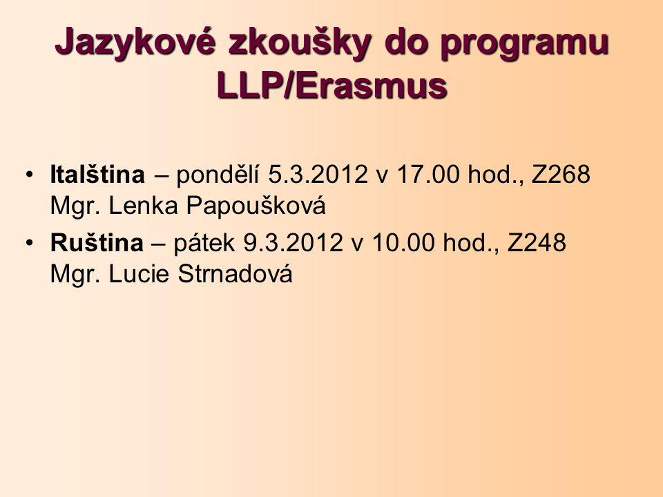 Jazykové zkoušky do programu LLP/Erasmus Italština – pondělí 5.3.2012 v 17.00 hod., Z268 Mgr. Lenka Papoušková Ruština – pátek 9.3.2012 v 10.00 hod.,