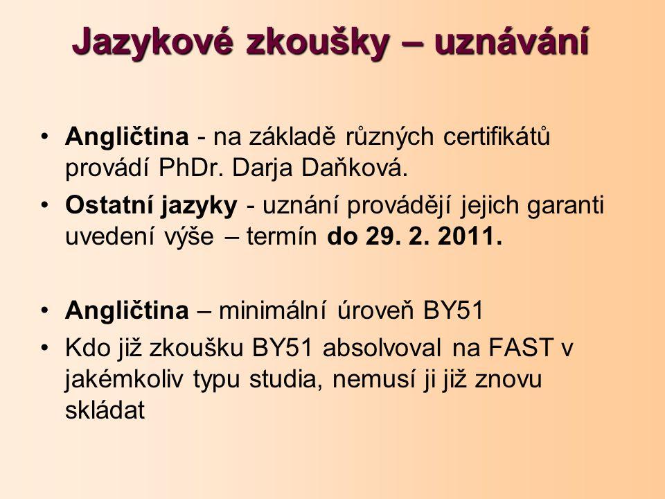 Jazykové zkoušky – uznávání Angličtina - na základě různých certifikátů provádí PhDr. Darja Daňková. Ostatní jazyky - uznání provádějí jejich garanti