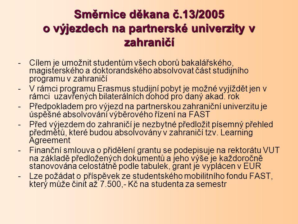 Směrnice děkana č.13/2005 o výjezdech na partnerské univerzity v zahraničí -Cílem je umožnit studentům všech oborů bakalářského, magisterského a doktorandského absolvovat část studijního programu v zahraničí -V rámci programu Erasmus studijní pobyt je možné vyjíždět jen v rámci uzavřených bilaterálních dohod pro daný akad.