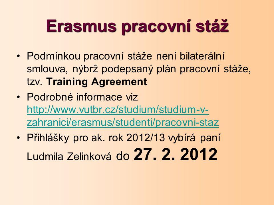 Erasmus pracovní stáž Podmínkou pracovní stáže není bilaterální smlouva, nýbrž podepsaný plán pracovní stáže, tzv. Training Agreement Podrobné informa