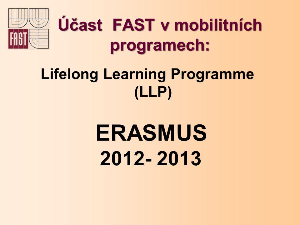 Účast FAST v mobilitních programech: Lifelong Learning Programme (LLP) ERASMUS 2012- 2013