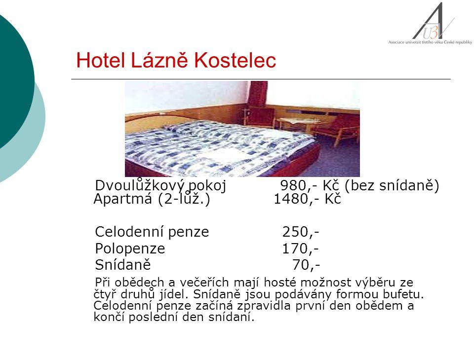 Dvoulůžkový pokoj 980,- Kč (bez snídaně) Apartmá (2-lůž.) 1480,- Kč Celodenní penze 250,- Polopenze 170,- Snídaně 70,- Při obědech a večeřích mají hos