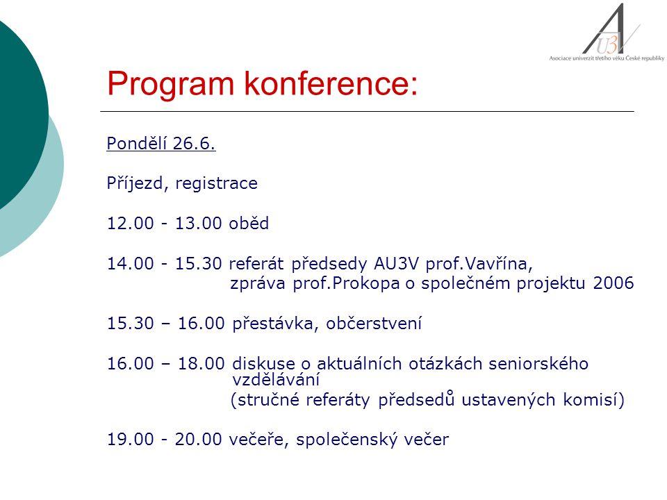 Program konference: Pondělí 26.6. Příjezd, registrace 12.00 - 13.00 oběd 14.00 - 15.30 referát předsedy AU3V prof.Vavřína, zpráva prof.Prokopa o spole