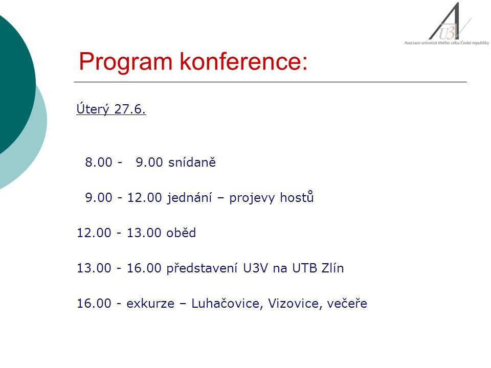 Program konference: Středa 28.6.