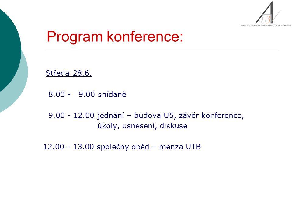 Program konference: Středa 28.6. 8.00 - 9.00 snídaně 9.00 - 12.00 jednání – budova U5, závěr konference, úkoly, usnesení, diskuse 12.00 - 13.00 společ