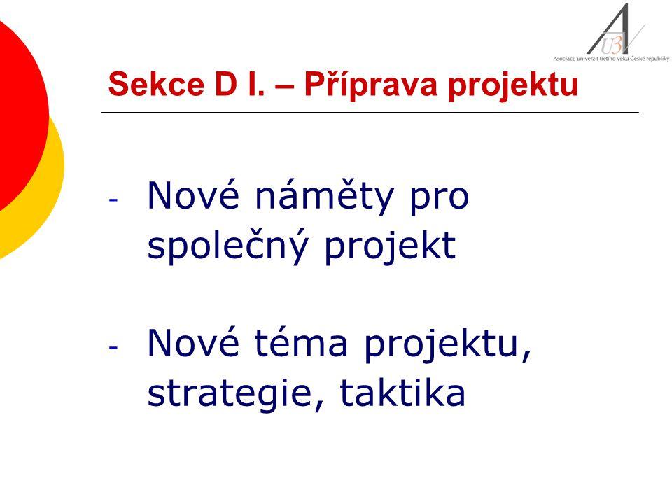 Sekce D I. – Příprava projektu - Nové náměty pro společný projekt - Nové téma projektu, strategie, taktika