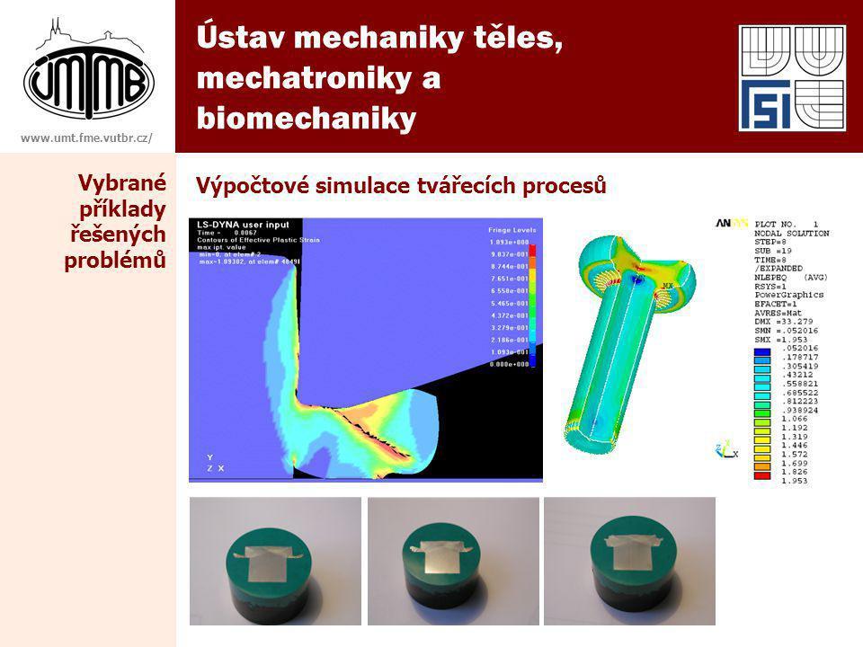 Ústav mechaniky těles, mechatroniky a biomechaniky www.umt.fme.vutbr.cz/ Výpočtové simulace tvářecích procesů Vybrané příklady řešených problémů