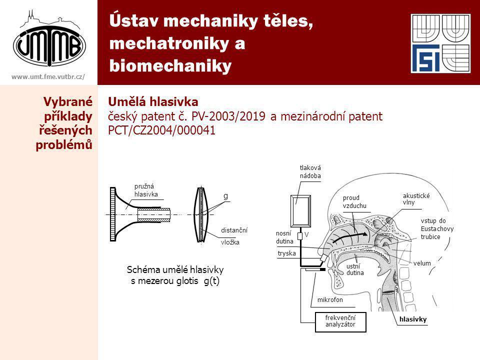 Ústav mechaniky těles, mechatroniky a biomechaniky www.umt.fme.vutbr.cz/ Umělá hlasivka český patent č. PV-2003/2019 a mezinárodní patent PCT/CZ2004/0
