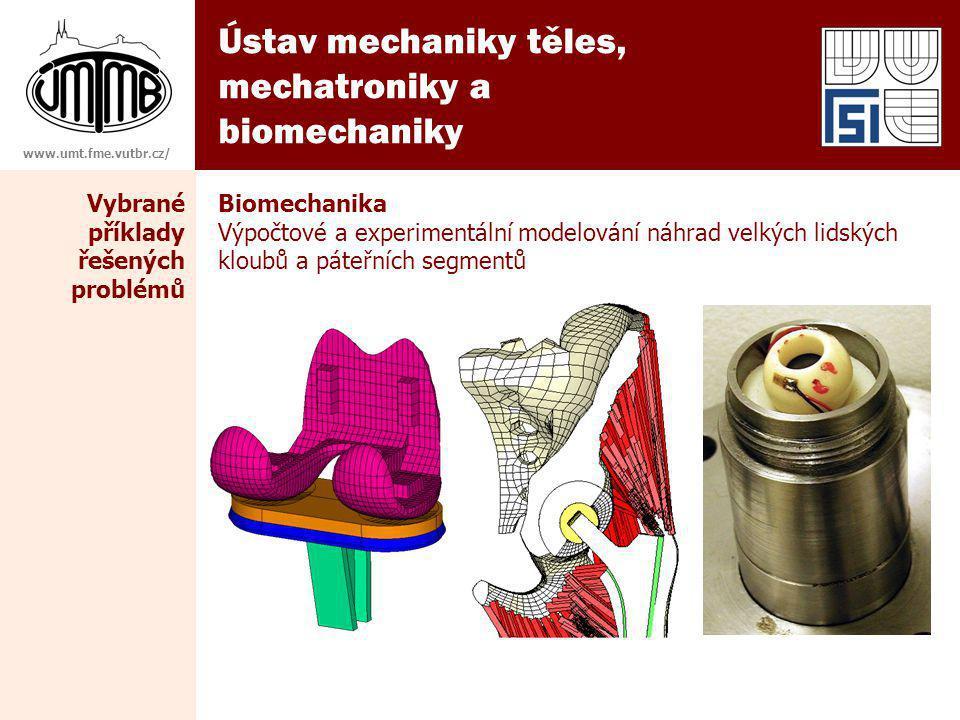 Ústav mechaniky těles, mechatroniky a biomechaniky www.umt.fme.vutbr.cz/ Vybrané příklady řešených problémů Biomechanika Výpočtové a experimentální modelování náhrad velkých lidských kloubů a páteřních segmentů