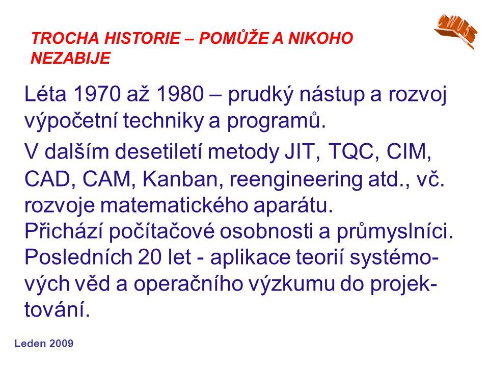 Leden 2009 Léta 1970 až 1980 – prudký nástup a rozvoj výpočetní techniky a programů. V dalším desetiletí metody JIT, TQC, CIM, CAD, CAM, Kanban, reeng