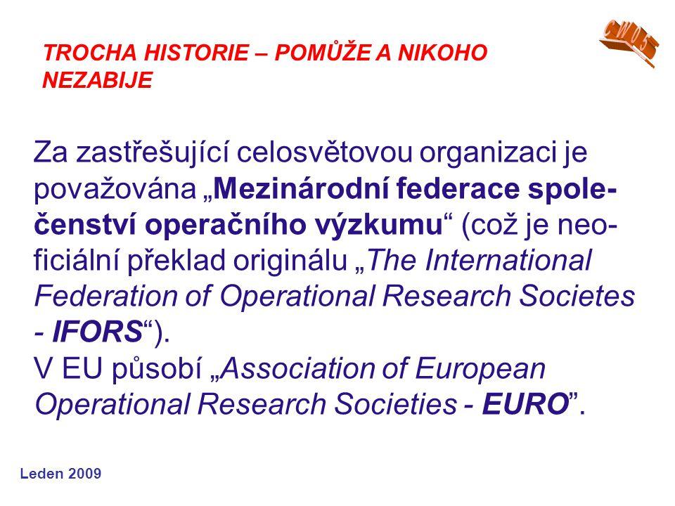"""Leden 2009 Za zastřešující celosvětovou organizaci je považována """"Mezinárodní federace spole- čenství operačního výzkumu"""" (což je neo- ficiální překla"""