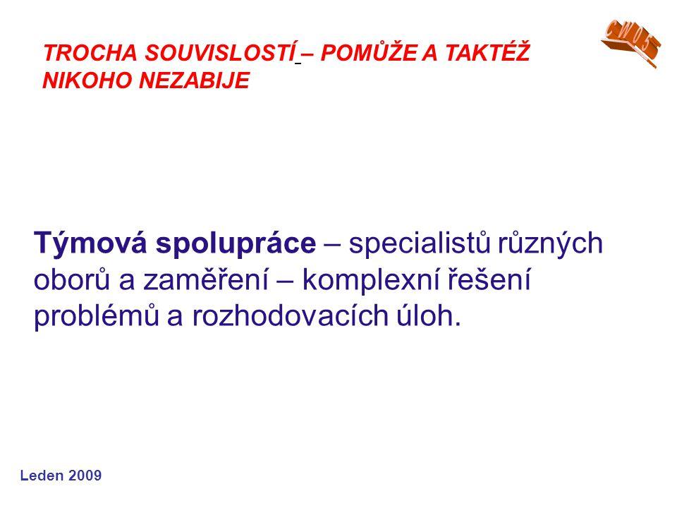 Leden 2009 Týmová spolupráce – specialistů různých oborů a zaměření – komplexní řešení problémů a rozhodovacích úloh. TROCHA SOUVISLOSTÍ – POMŮŽE A TA