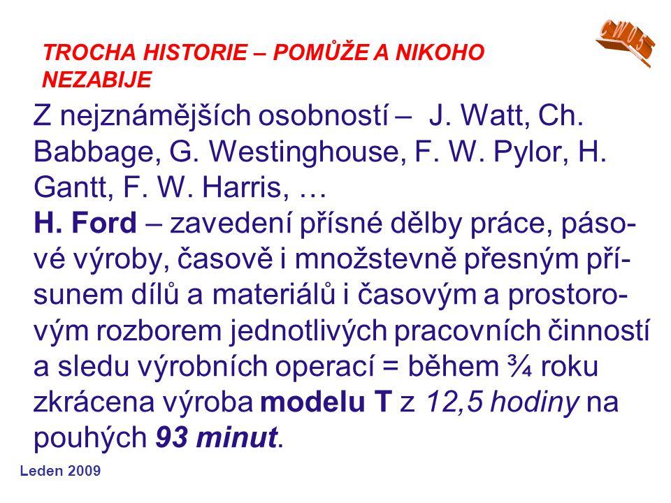Leden 2009 Z nejznámějších osobností – J. Watt, Ch. Babbage, G. Westinghouse, F. W. Pylor, H. Gantt, F. W. Harris, … H. Ford – zavedení přísné dělby p