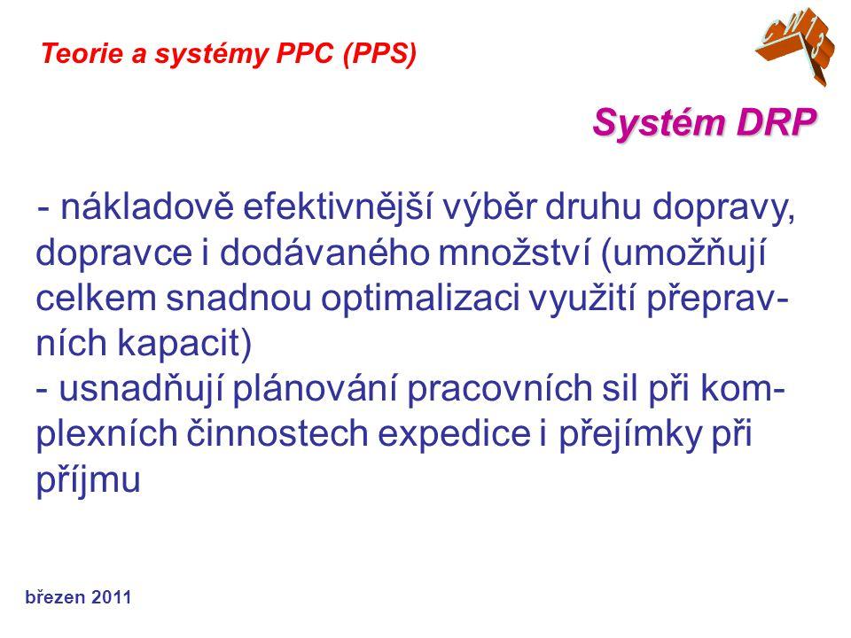 březen 2011 Teorie a systémy PPC (PPS) - nákladově efektivnější výběr druhu dopravy, dopravce i dodávaného množství (umožňují celkem snadnou optimaliz