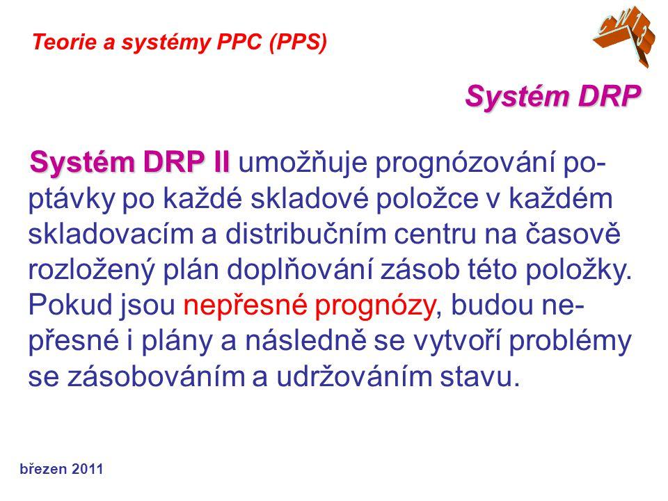 březen 2011 Teorie a systémy PPC (PPS) Systém DRP II Systém DRP II umožňuje prognózování po- ptávky po každé skladové položce v každém skladovacím a d