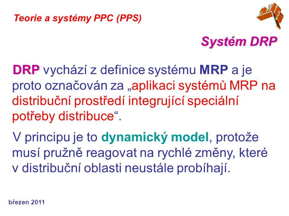 březen 2011 Teorie a systémy PPC (PPS) DRP I a DRP II : Systém má dvě varianty DRP I a DRP II : DRP 1 – DRP 1 – model časově rozložených plánů pro proces doplňování zásob DRP 2 – DRP 2 – nástavba a rozšíření o plánování klíčových zdrojů distribučního systému.