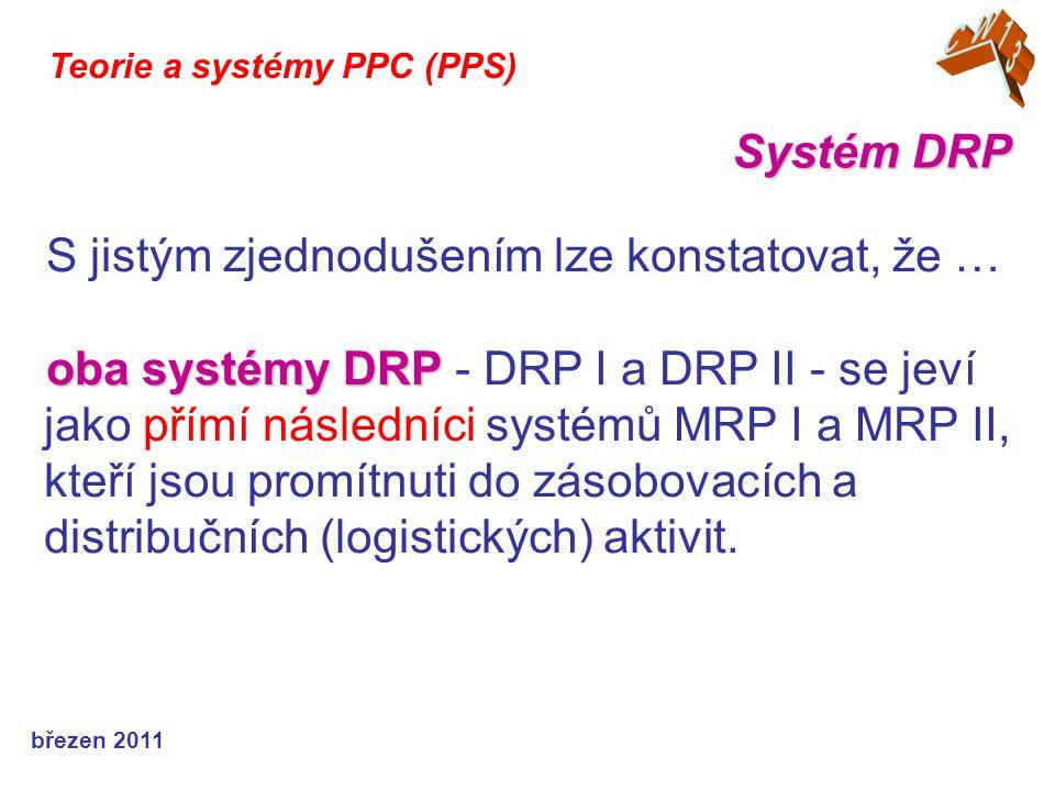 březen 2011 Teorie a systémy PPC (PPS) Systémy DRP Systémy DRP jsou zdrojem informací využi- telných pro plánování budoucích požadavků na zásoby: - koordinace doplňování skladových položek, které jsou dodávány ze stejného zdroje - ….
