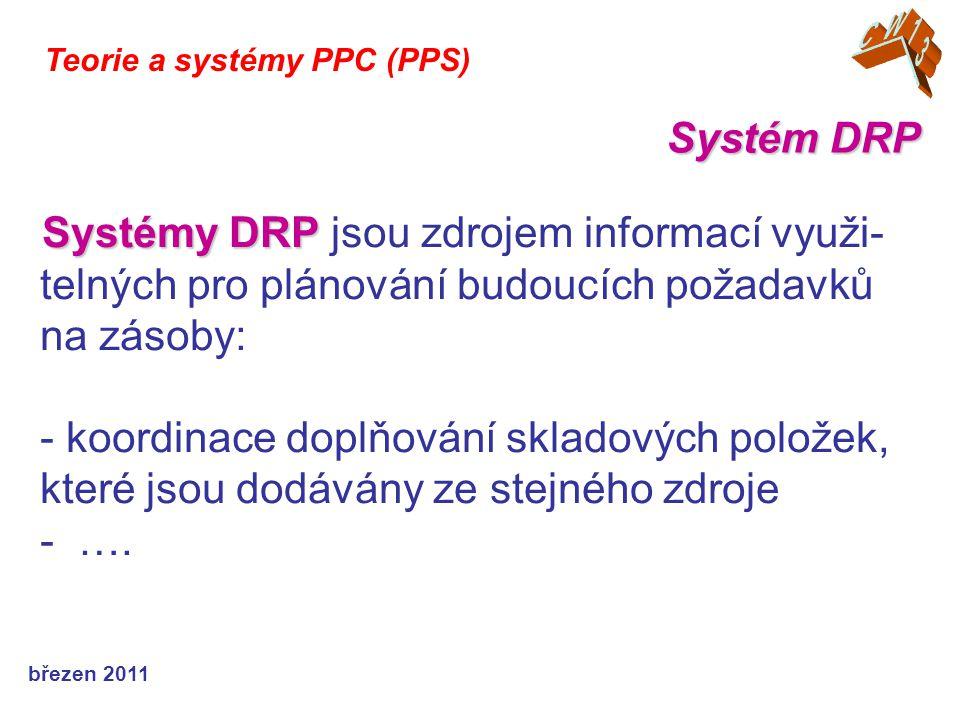 březen 2011 Teorie a systémy PPC (PPS) - nákladově efektivnější výběr druhu dopravy, dopravce i dodávaného množství (umožňují celkem snadnou optimalizaci využití přeprav- ních kapacit) - usnadňují plánování pracovních sil při kom- plexních činnostech expedice i přejímky při příjmu Systém DRP