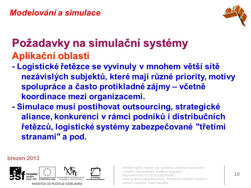 Středoevropské centrum pro vytváření a realizaci inovovaných technicko-ekonomických studijních programů Registrační číslo CZ.1.07/2.2.00/28.0301 Tento projekt je spolufinancován Evropským sociálním fondem a státním rozpočtem České republiky.