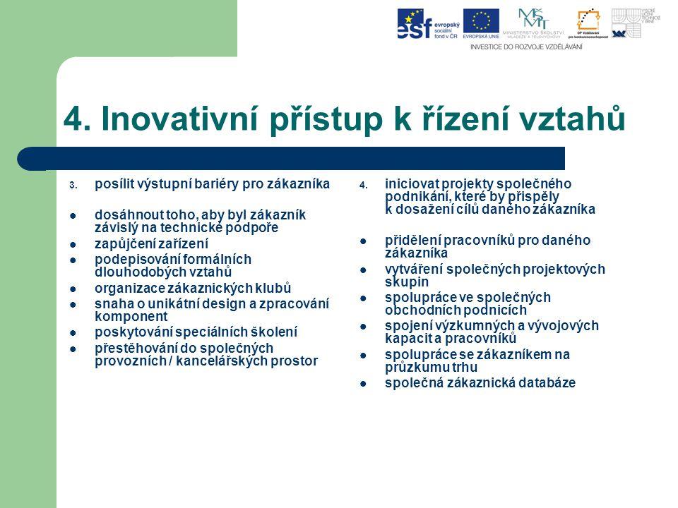 4. Inovativní přístup k řízení vztahů 3. posílit výstupní bariéry pro zákazníka dosáhnout toho, aby byl zákazník závislý na technické podpoře zapůjčen