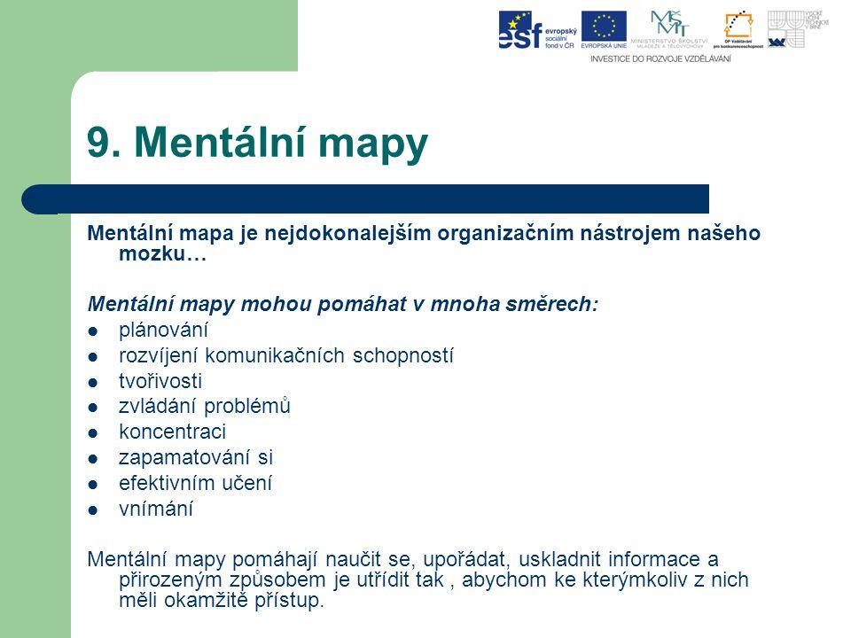 9. Mentální mapy Mentální mapa je nejdokonalejším organizačním nástrojem našeho mozku… Mentální mapy mohou pomáhat v mnoha směrech: plánování rozvíjen