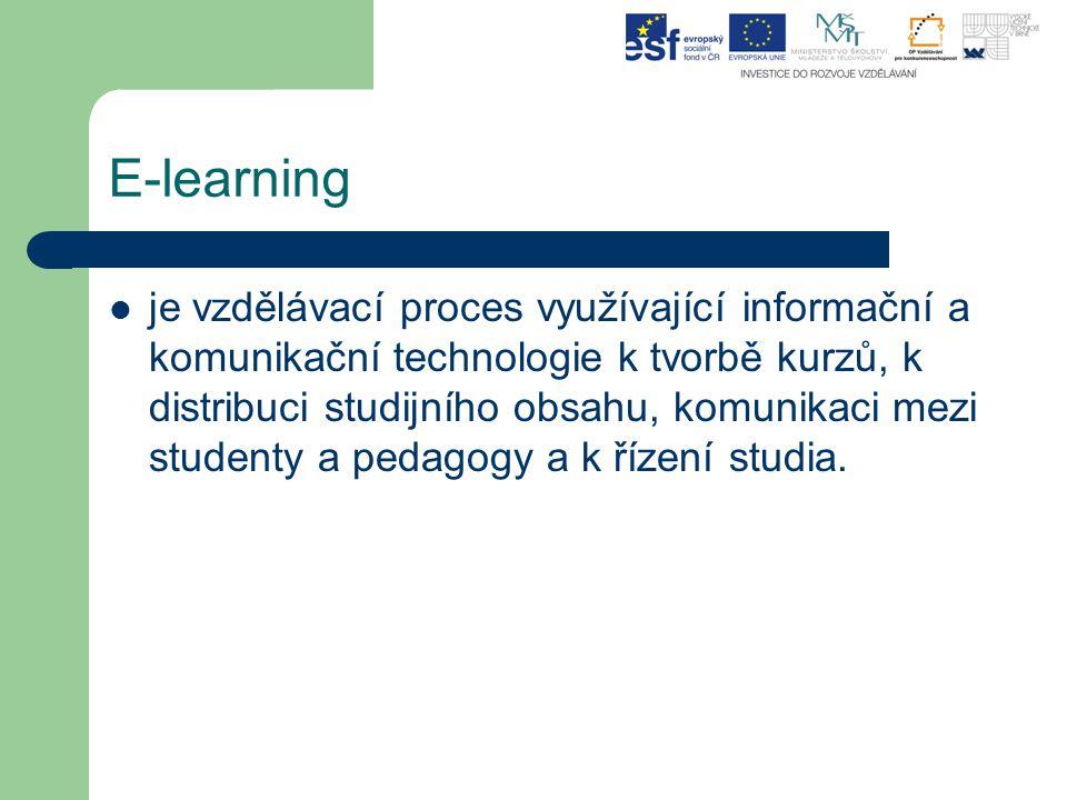 E-learning je vzdělávací proces využívající informační a komunikační technologie k tvorbě kurzů, k distribuci studijního obsahu, komunikaci mezi stude
