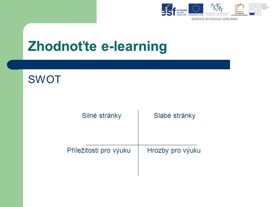 Zhodnoťte e-learning SWOT Silné stránkySlabé stránky Příležitosti pro výukuHrozby pro výuku