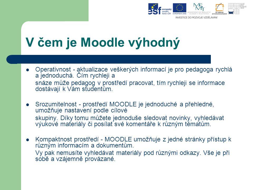 V čem je Moodle výhodný Operativnost - aktualizace veškerých informací je pro pedagoga rychlá a jednoduchá. Čím rychleji a snáze může pedagog v prostř