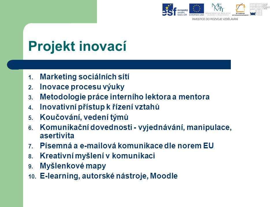 Projekt inovací 1. Marketing sociálních sítí 2. Inovace procesu výuky 3. Metodologie práce interního lektora a mentora 4. Inovativní přístup k řízení