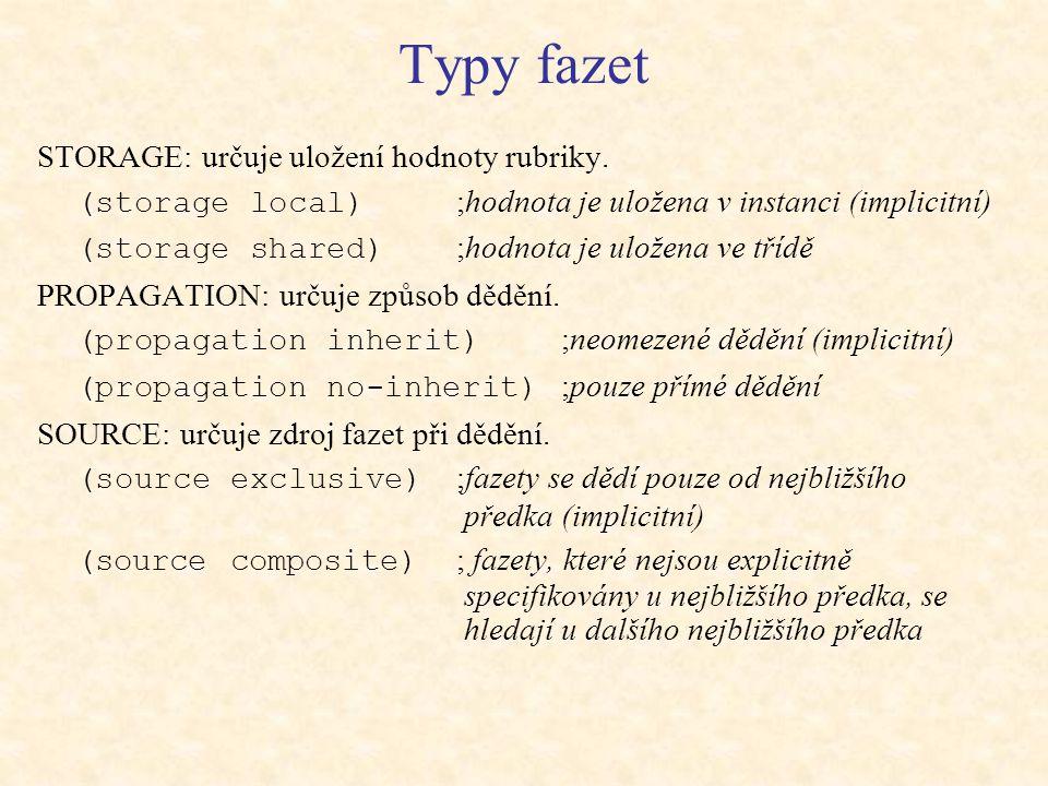 Typy fazet STORAGE: určuje uložení hodnoty rubriky.