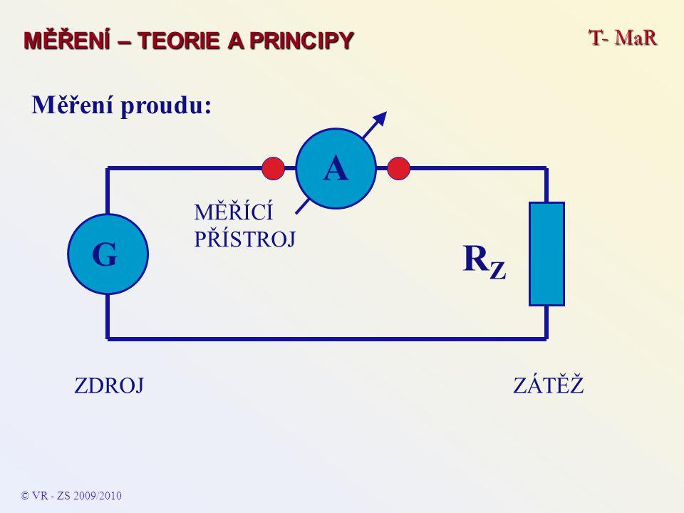 A ZÁTĚŽZDROJ G RZRZ MĚŘÍCÍ PŘÍSTROJ © VR - ZS 2009/2010 Měření proudu: T- MaR MĚŘENÍ – TEORIE A PRINCIPY
