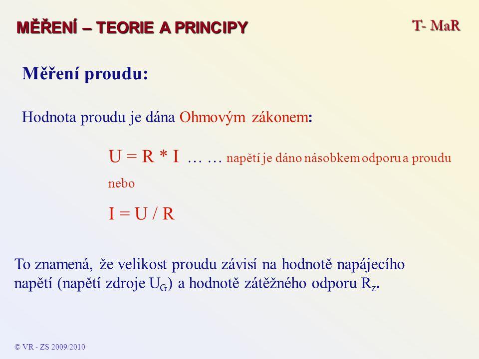 © VR - ZS 2009/2010 Měření proudu: Hodnota proudu je dána Ohmovým zákonem: U = R * I … … napětí je dáno násobkem odporu a proudu nebo I = U / R To zna