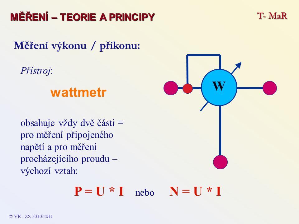 Přístroj: wattmetr obsahuje vždy dvě části = pro měření připojeného napětí a pro měření procházejícího proudu – výchozí vztah: P = U * I nebo N = U *