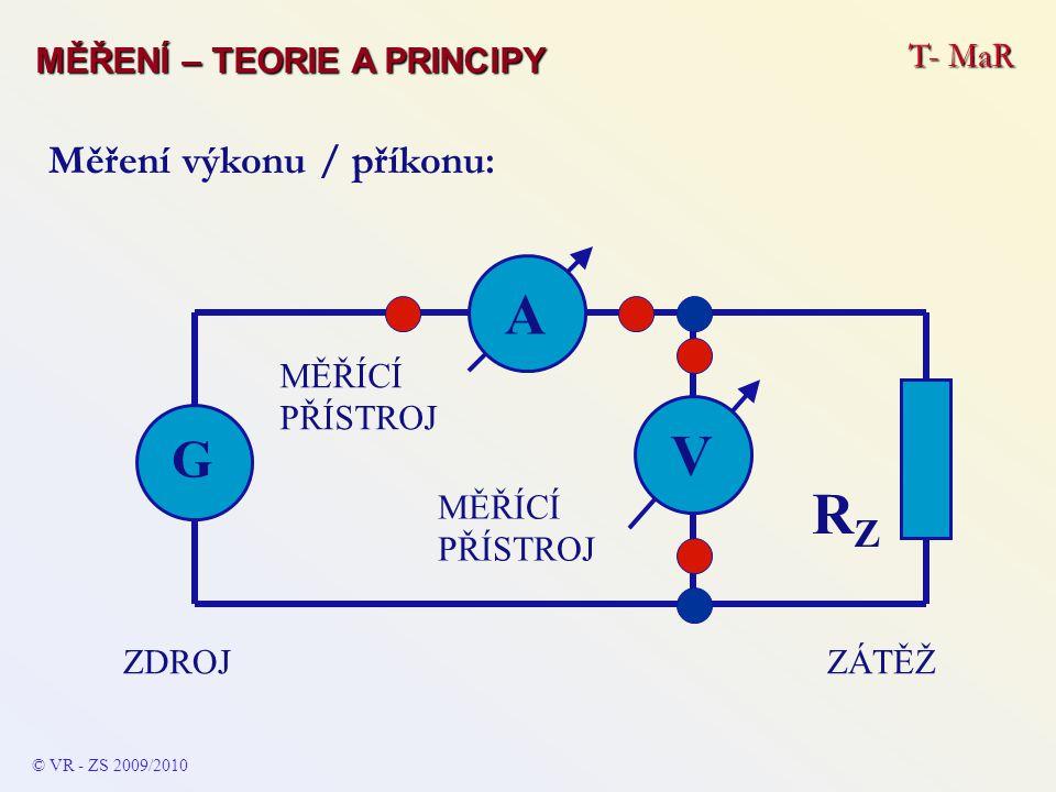 © VR - ZS 2009/2010 Měření výkonu / příkonu: A ZÁTĚŽZDROJ G RZRZ MĚŘÍCÍ PŘÍSTROJ V T- MaR MĚŘENÍ – TEORIE A PRINCIPY